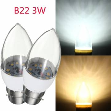 B22 3W 9 SMD 2835 LED Candle Light Bulb Clear Glass Warm White/White Lamp AC 220V