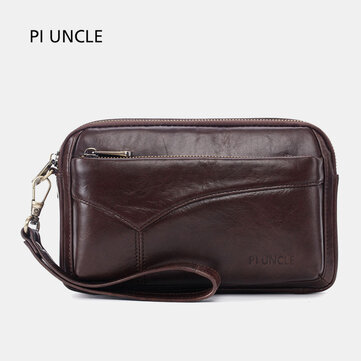 Men Genuine Leather Clutches Bags Small Phone Bag Card Holder Business Bag