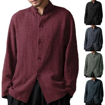 INCERUN Mens Algodão Vintage Gola Long Sleeve Casual Camisas