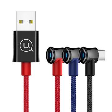 USAMS 2A Type-C LED Indicatore Cavo dati ricarica rapida per Huawei P30 Xiaomi Mi9 S10 + Note10