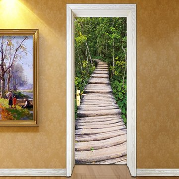 3D Door Sticker Decal Tree-lined Track Scenery Self Adhesive Mural Wall Decorations