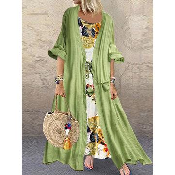 Bohemian Baskı Düğüm İki Adet Yaz Plus Boyut Elbise