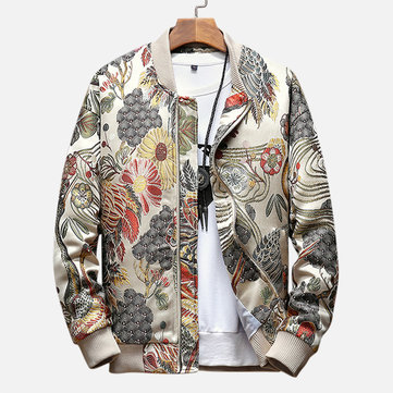 Mens Ethnic Style Crane Embroidered Floral Zipper Slim Fit Jacket