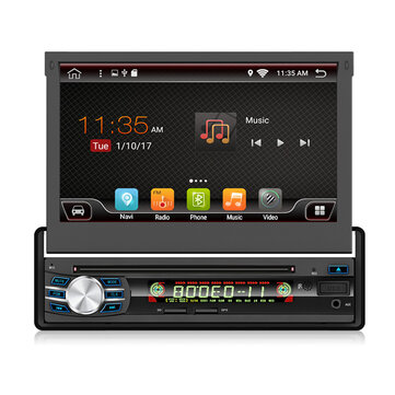 YUEHOO 7 Inch 1 DIN for Android 8.1 Car DVD Player Retractable Touch Screen Stereo Radio 8 Core 1+32G/2+32G WIFI 4G GPS FM AM RDS