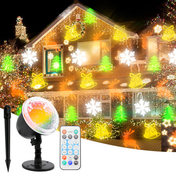 Christmas Moving LED Snowflake Lights Projector Snow Lamp Stage Light Laser