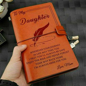 A mia figlia, dove mai amare la mamma Diario di cuoio inciso Diario di quaderno Messaggio personalizzato Citazioni Regalo Anniversario Compleanno