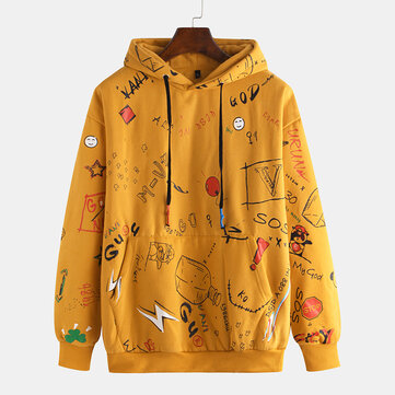 Mens Fashion Multi Pattern Overhead Printing Hooded Casual Sweatshirt