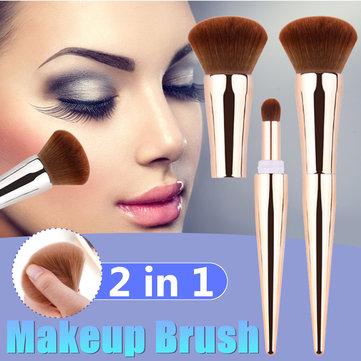 Multifunctionele 2-in-1 Nylon wollen plating Kunststof handvat Borstel Oogschaduw Make-up kwasten