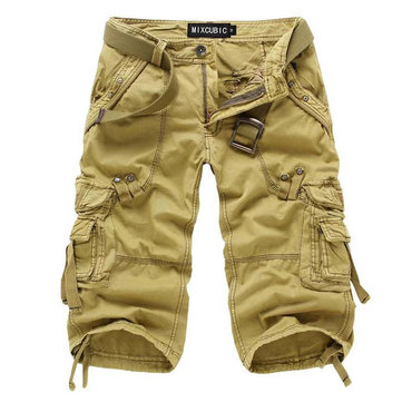 Mens Outdoor Multi-pocket Cargo Shorts Solid Color Casual Knee Length Cotton Shorts