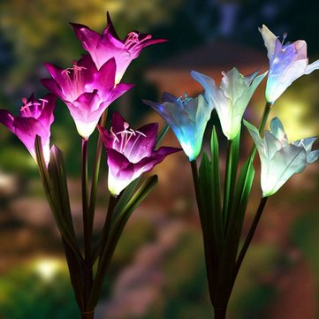 Colorful 4 LED Waterproof Solar Powered Lily Flower Garden Lawn Light Waterproof IP65 Lamp