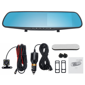 4.3 Inch Double Lens Car DVR Rearview Mirror Driving Recorder Night Vision Parking Monitoring
