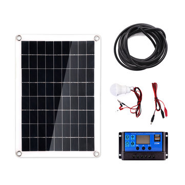 40W Solar Panel +3W Lamp +10A Solar Controller +1m Extension Cord Set for Camping Home Working