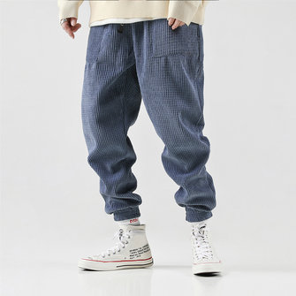 Mens Corduroy Vintage Jogger Pure Color Elastic Waist Casual Pants