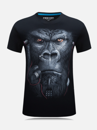 Stylish Mens Summer Short Sleeve Monkey Ape Printed T-Shirt Tops Tees Blouses