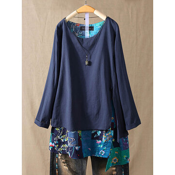 Women Cotton Floral Patchwork High Low Loose Long Sleeve Blouse