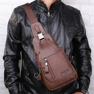 Ekphero® Mannen Casual Echte Leer Olie Wax Borszak Crossbody Bag