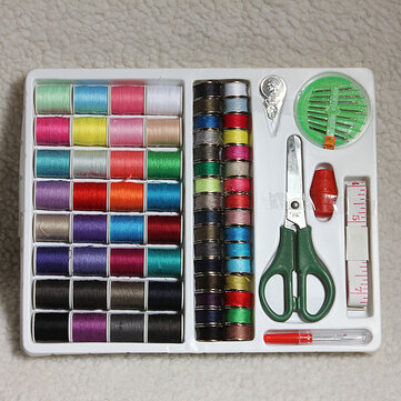 100pcs Portable Sewing Kit Threader Needle Tape Measure Scissor Thimble Set